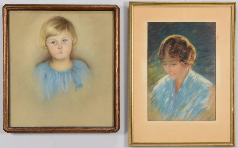 Lot 178: Two 20th Century Pastel Portraits