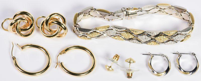Lot 1: Group 14K Earrings and Bracelet