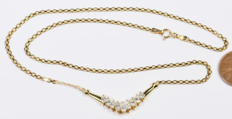 Lot 20: 14K Marquise Diamond Necklace
