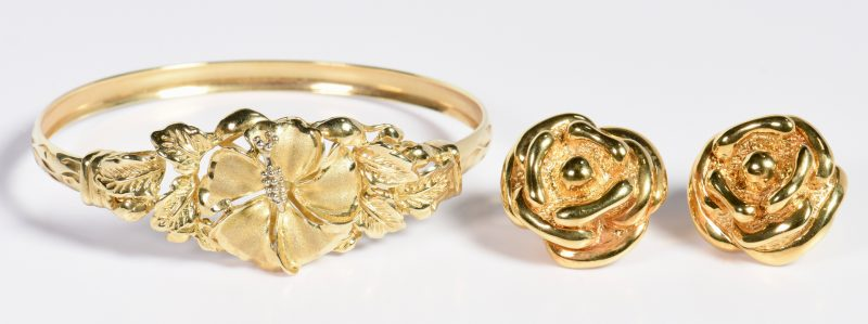 Lot 24: Two Items Gold Flower Jewelry