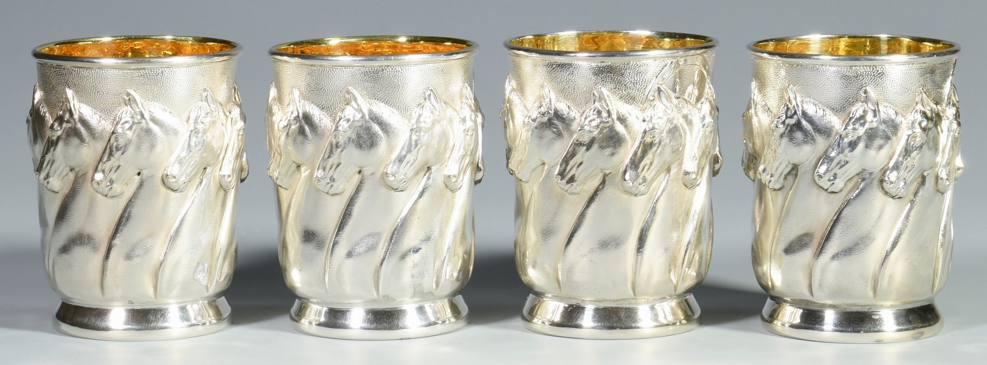 "Lot 27: 4 Galmer Sterling ""Horses"" Julep Cups"