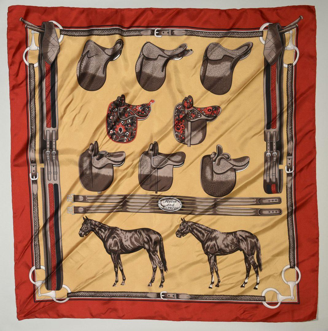 Lot 34: 3 Silk scarves, including Hermes, Brooks Brothers.