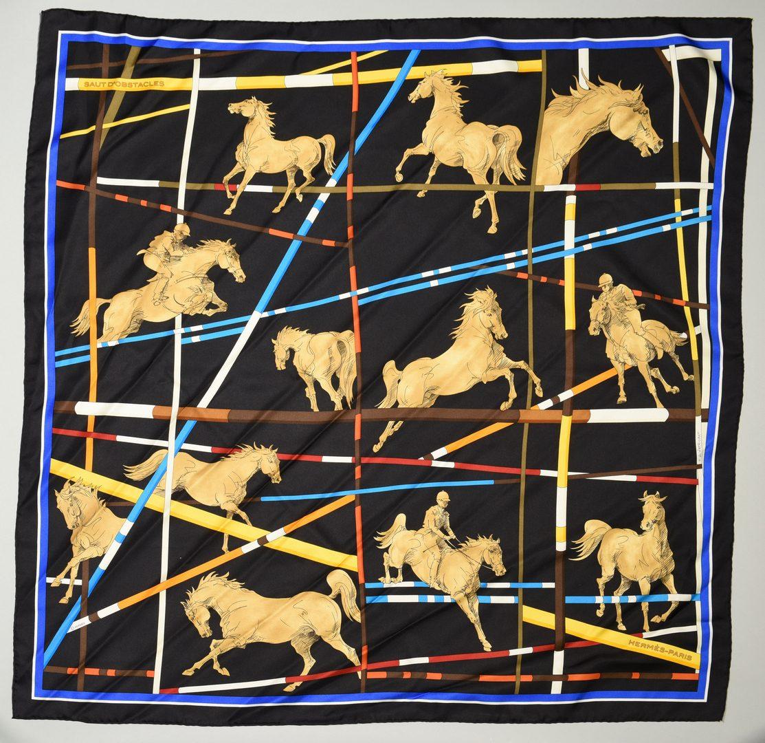 """Lot 35: 2 Hermes Silk Scarves, Incl """"Ex Libris En Camo"""""""