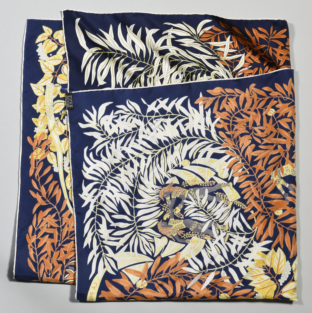 Lot 36: 2 Hermes Silk Scarves