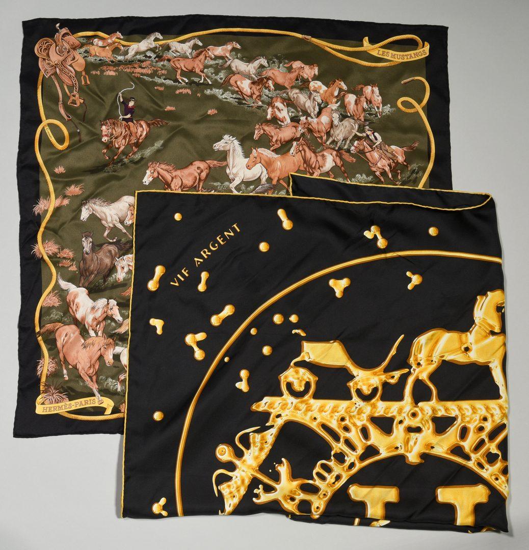 Lot 37: 2 Hermes Silk Scarves