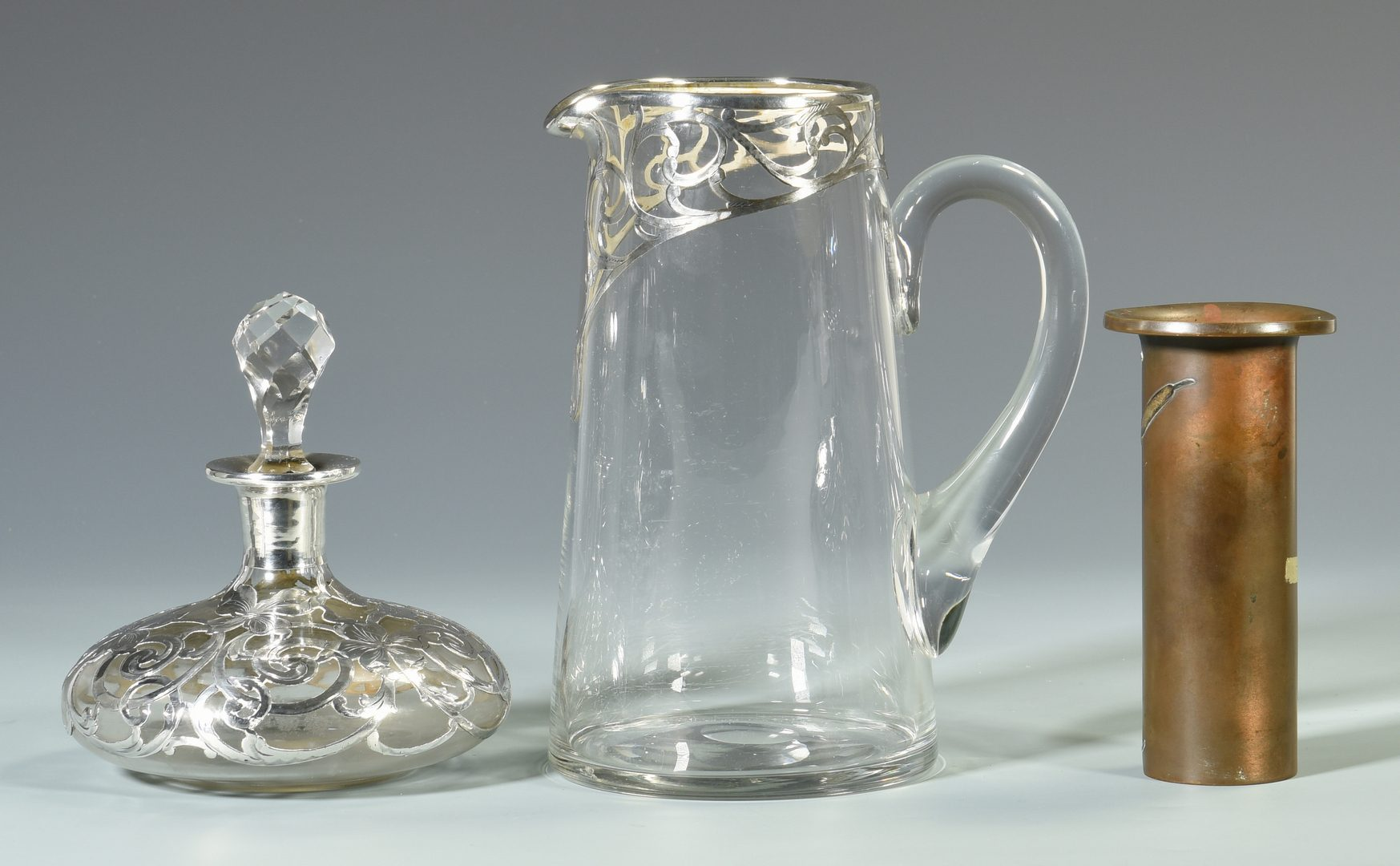 Lot 44: 2 Silver Overlay Glass Items + 1 other