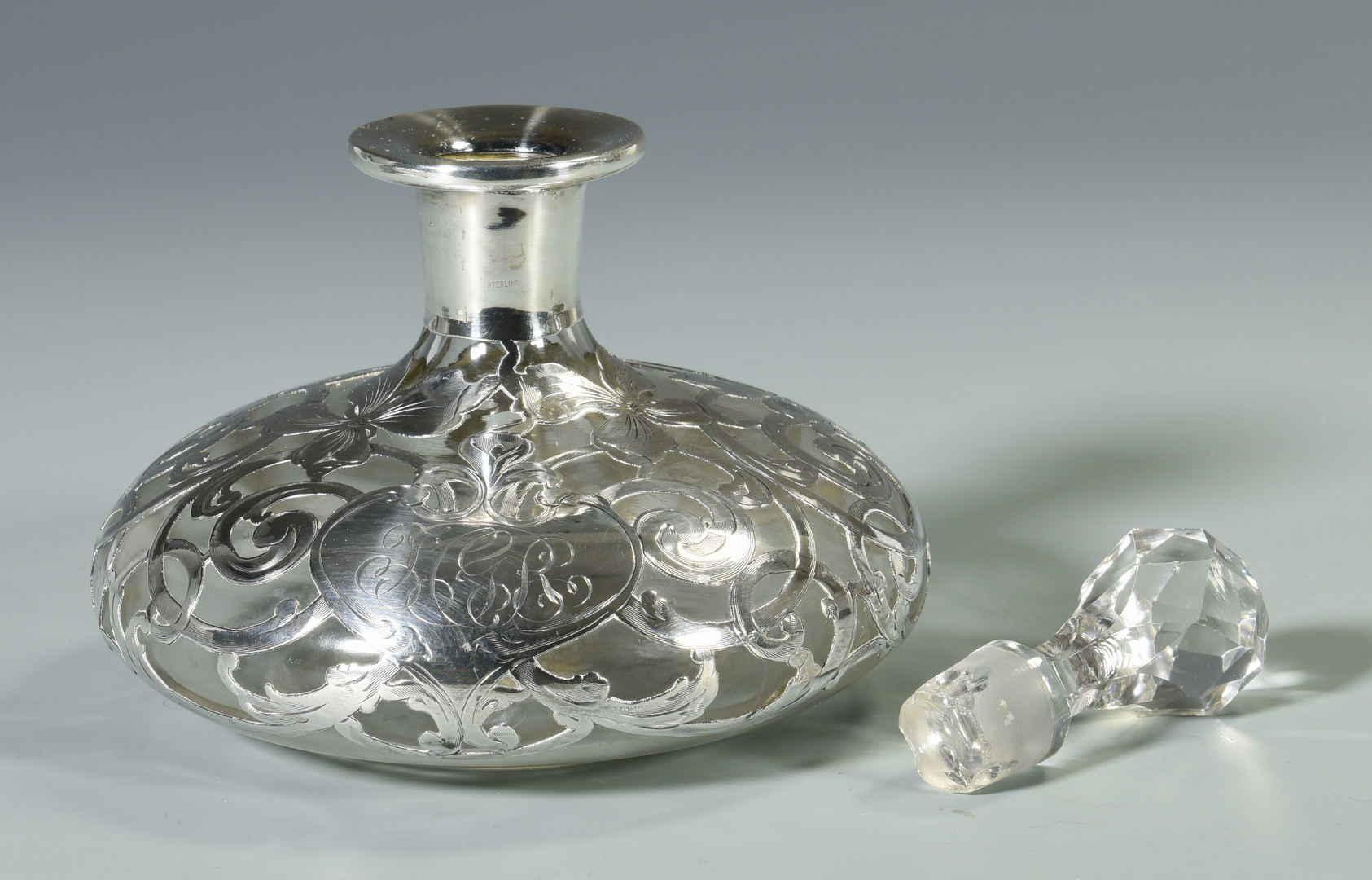 Lot 44 2 Silver Overlay Glass Items 1 Other