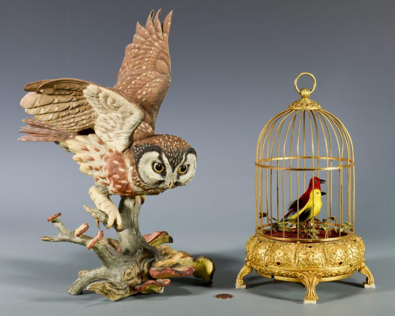 Lot 45: Boehm Owl & French/German Singing Bird Automaton