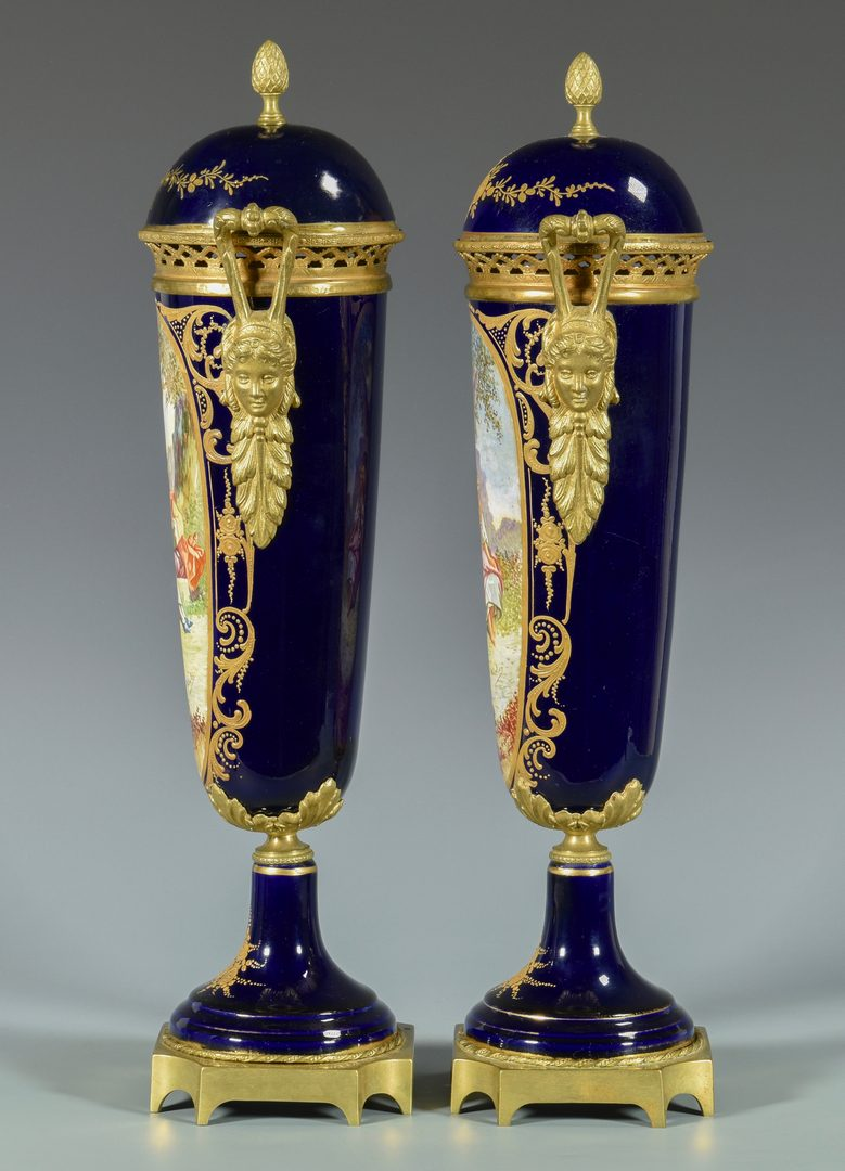 Lot 46: Pair Bronze Mounted Sevres Style Vases