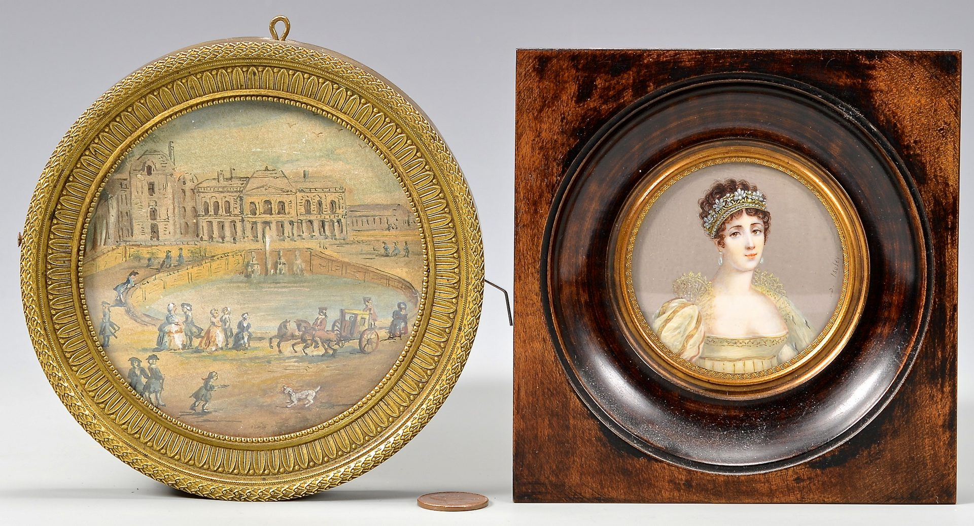 Lot 49: 2 French Themed Miniature Paintings