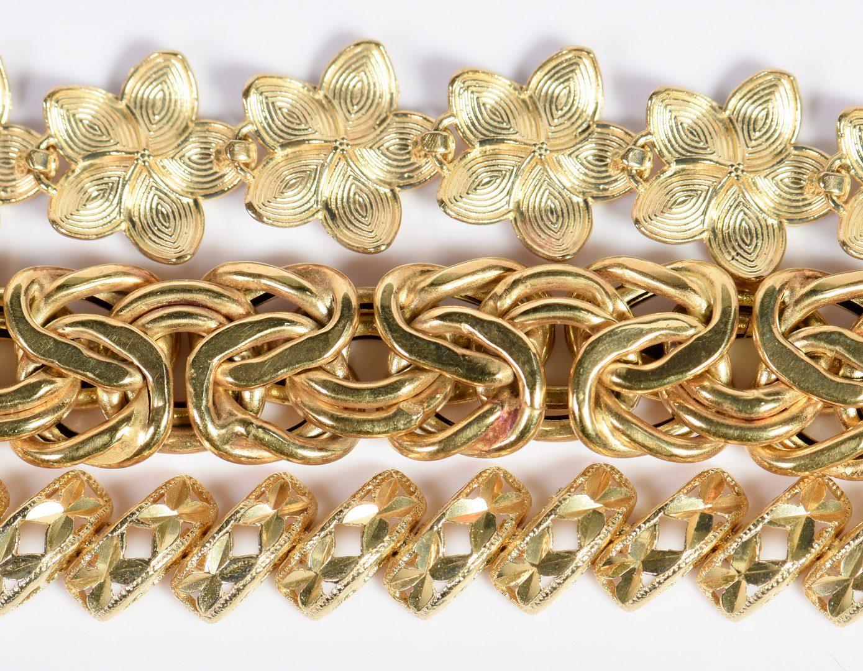 Lot 4: 3 14K Link Bracelets
