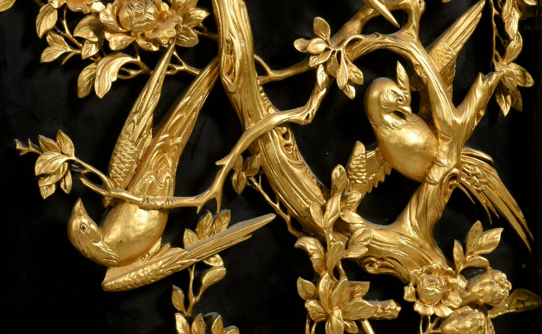 Lot 56: 4 Chinese Carved Gilt & Lacquer Wall Panels