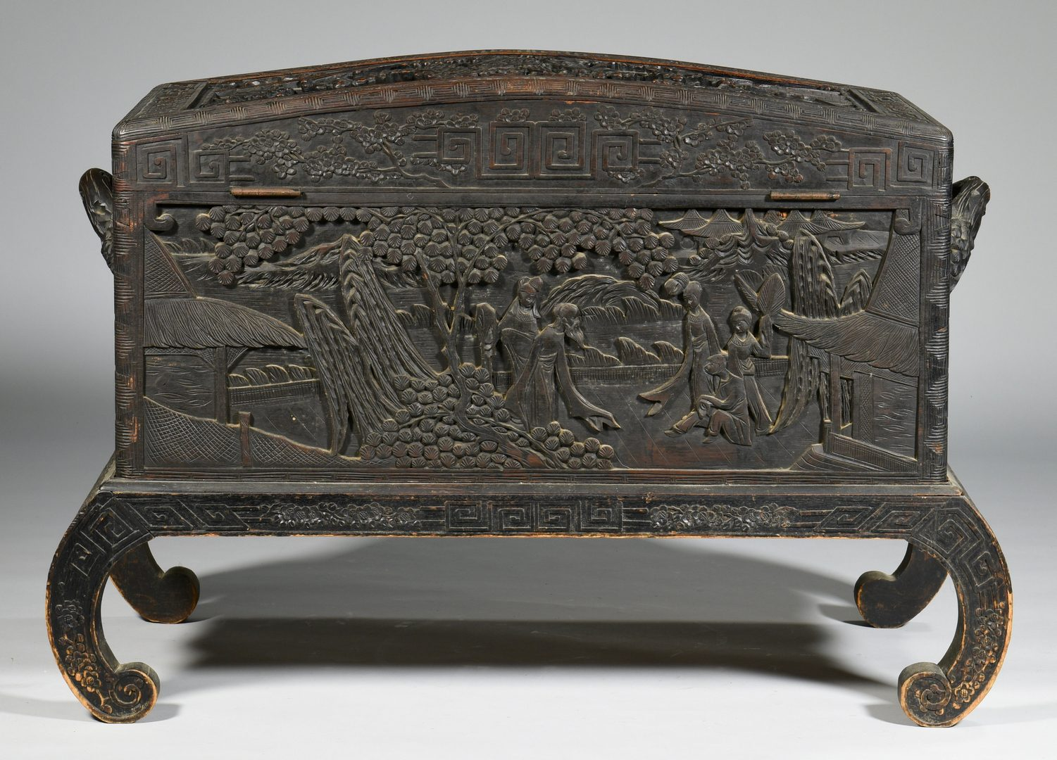 Lot 58: Chinese Carved Box on Stand with Relief