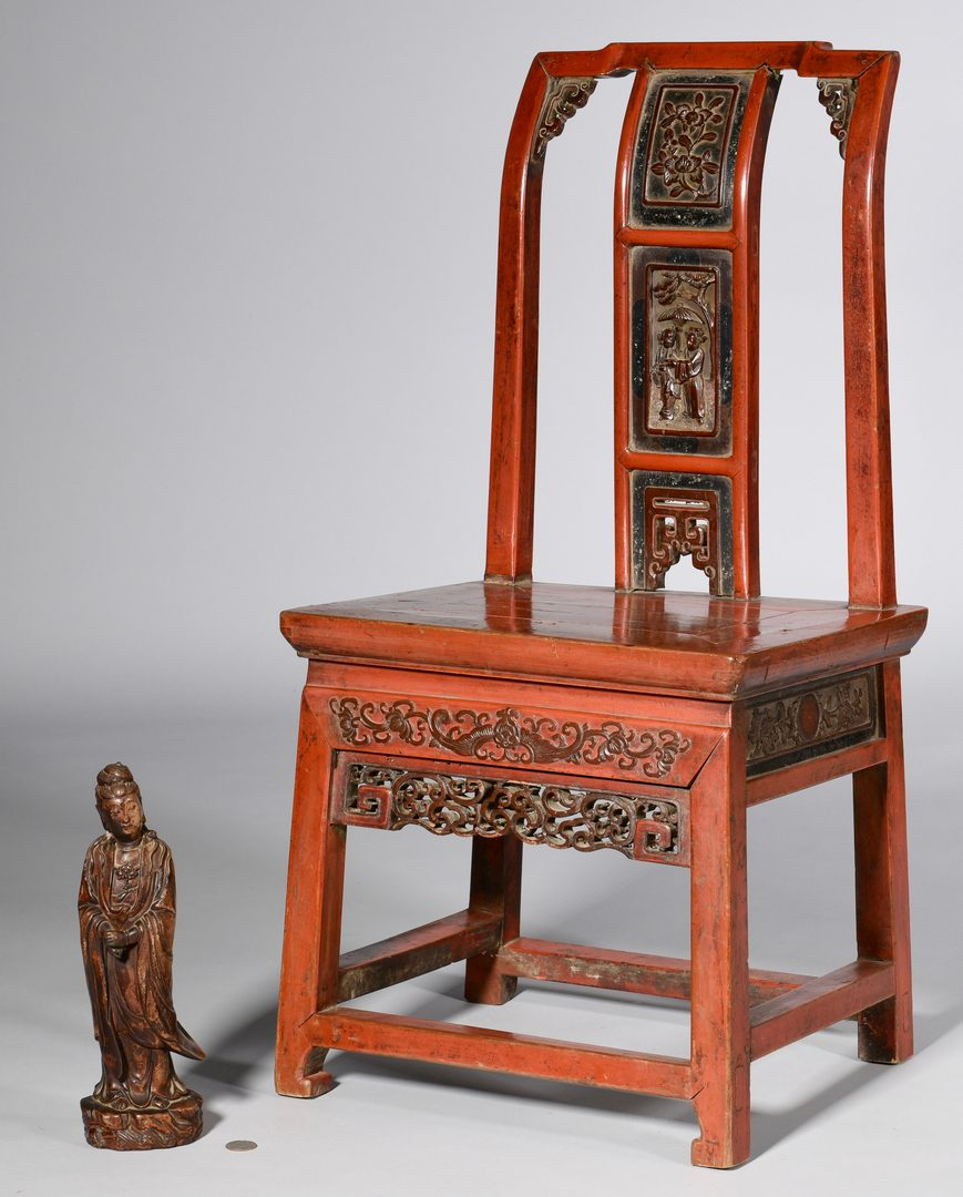 Lot 59: Chinese Red Lacquer Wedding Chair & Carving