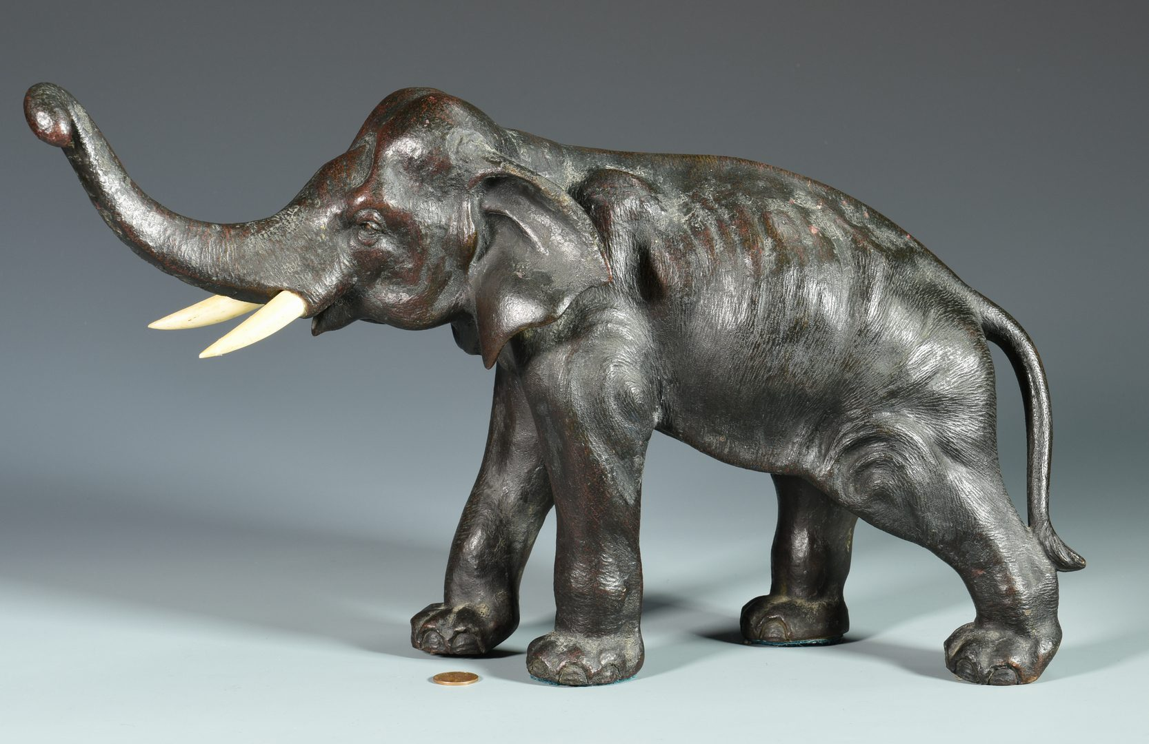 Lot 60: Japanese Bronze Elephant, Marked