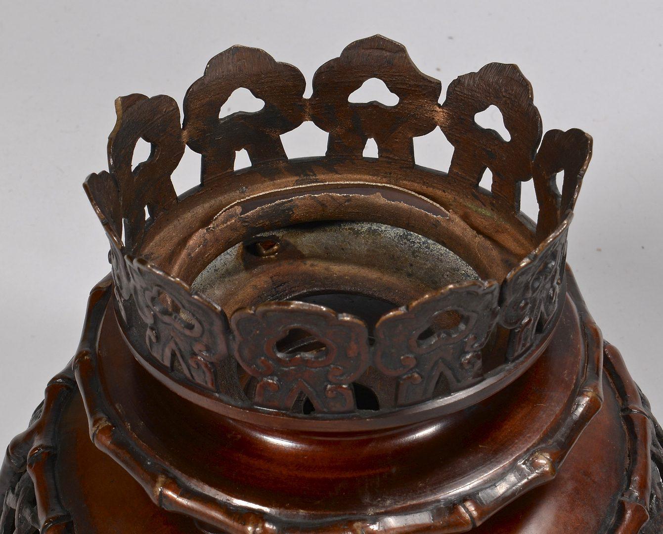 Lot 61: Japanese Bronze Floor Oil Lamp w/Shade
