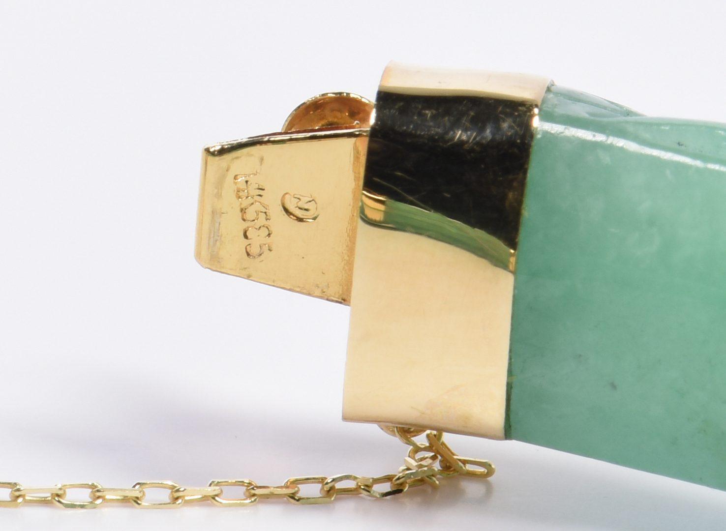 Lot 63: Carved jade bracelet and cloisonne necklace