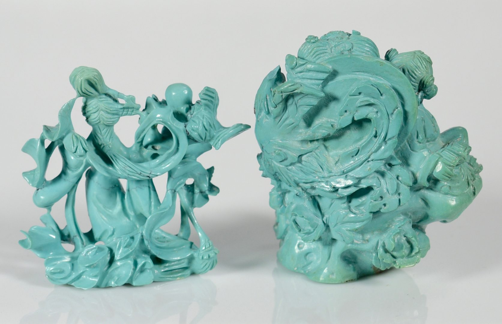 Lot 66: 2 Chinese Turquoise Figures & Glass Sculpture