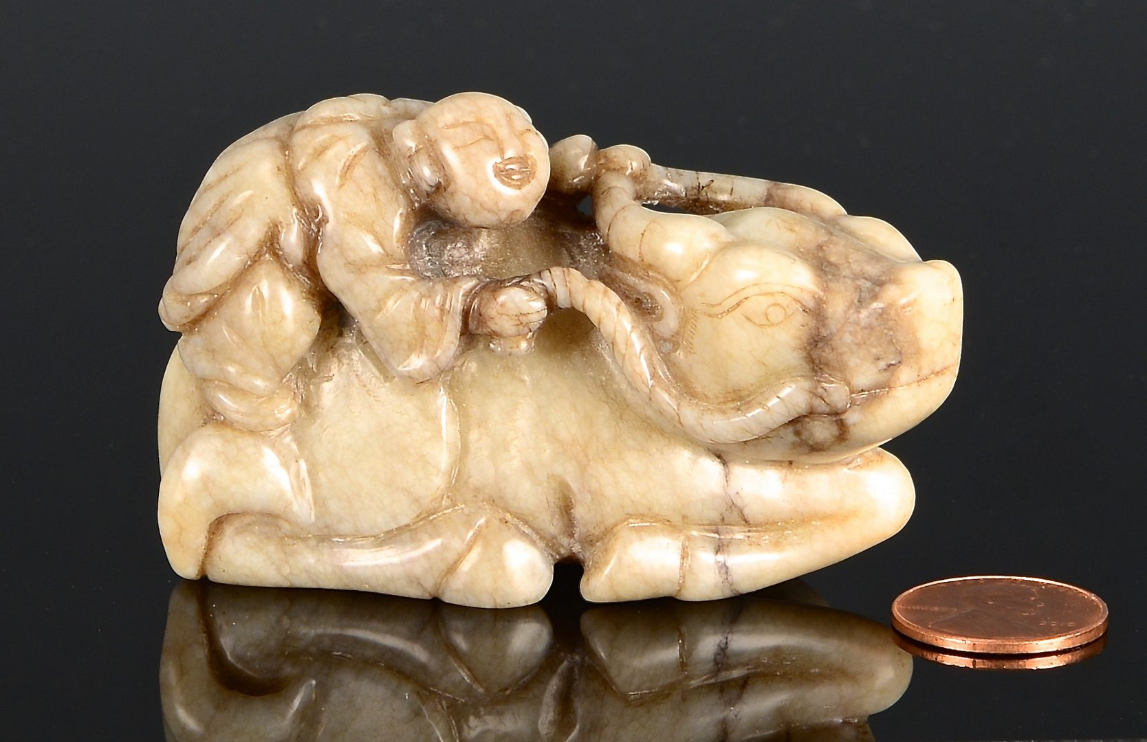Lot 67: Chinese Black & White Carved Jade Pendant & Jade Figure on Ox