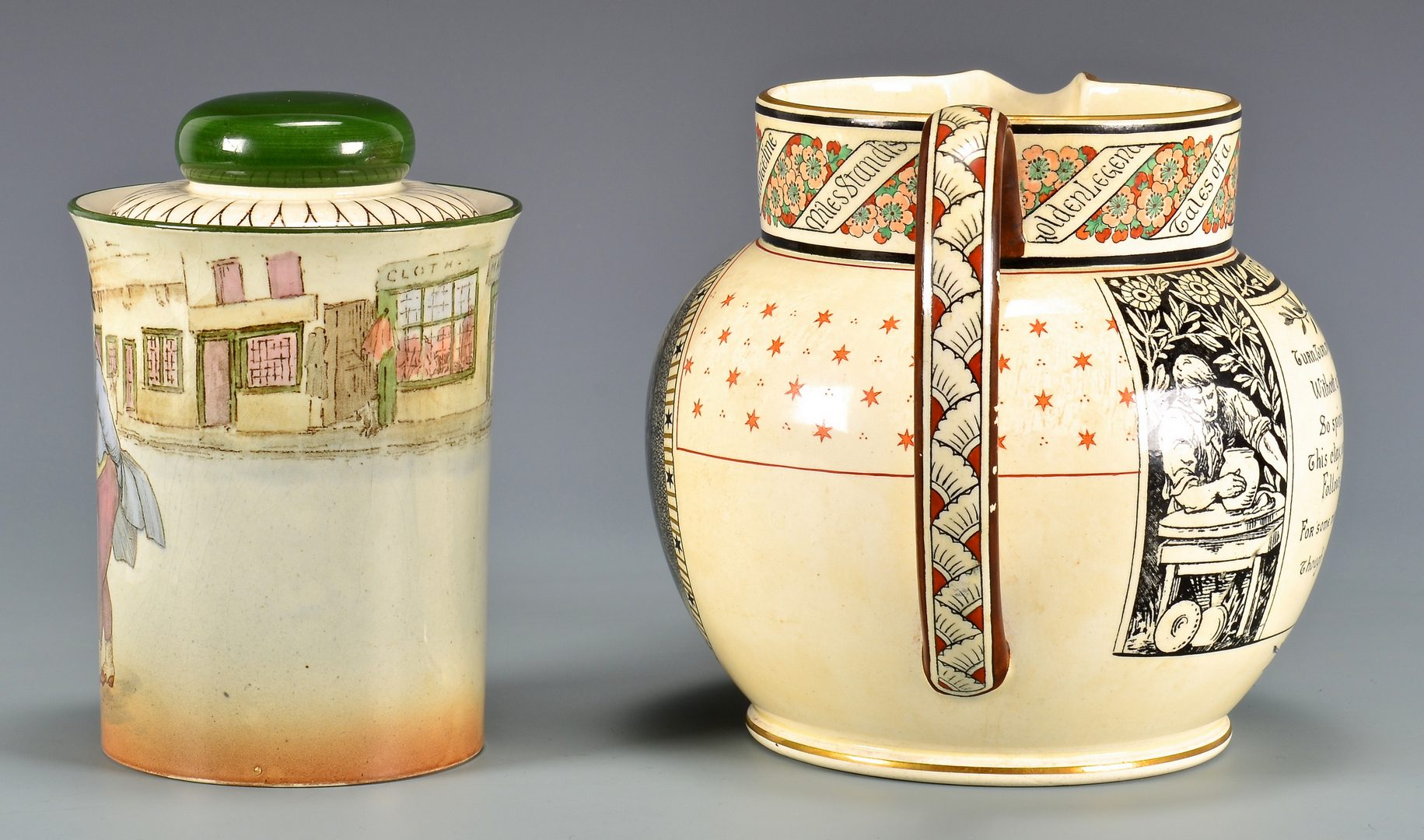Lot 83: Staffordshire Pitcher, Pickwick Humidor