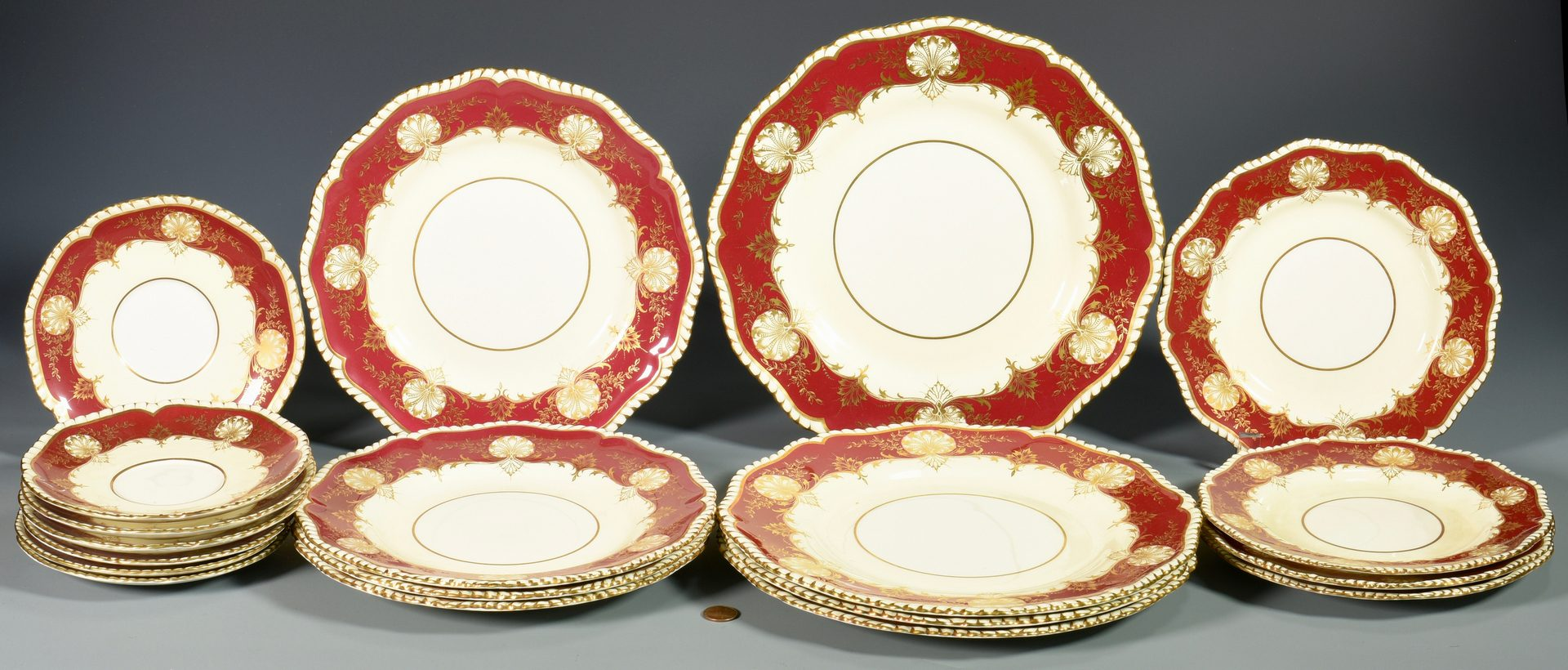 Lot 84: Assorted pcs Red Hatfield Porcelain dinnerware