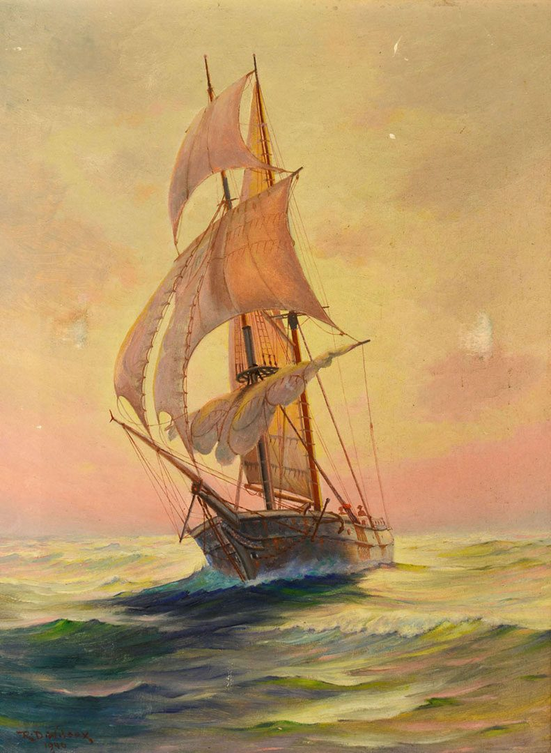 Lot 92: Ruth Dawes Wilcox Oil on Canvas – Ship at Sea