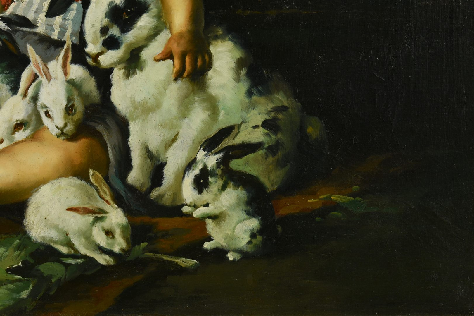 Lot 94: Oil on Canvas of Child and Rabbits