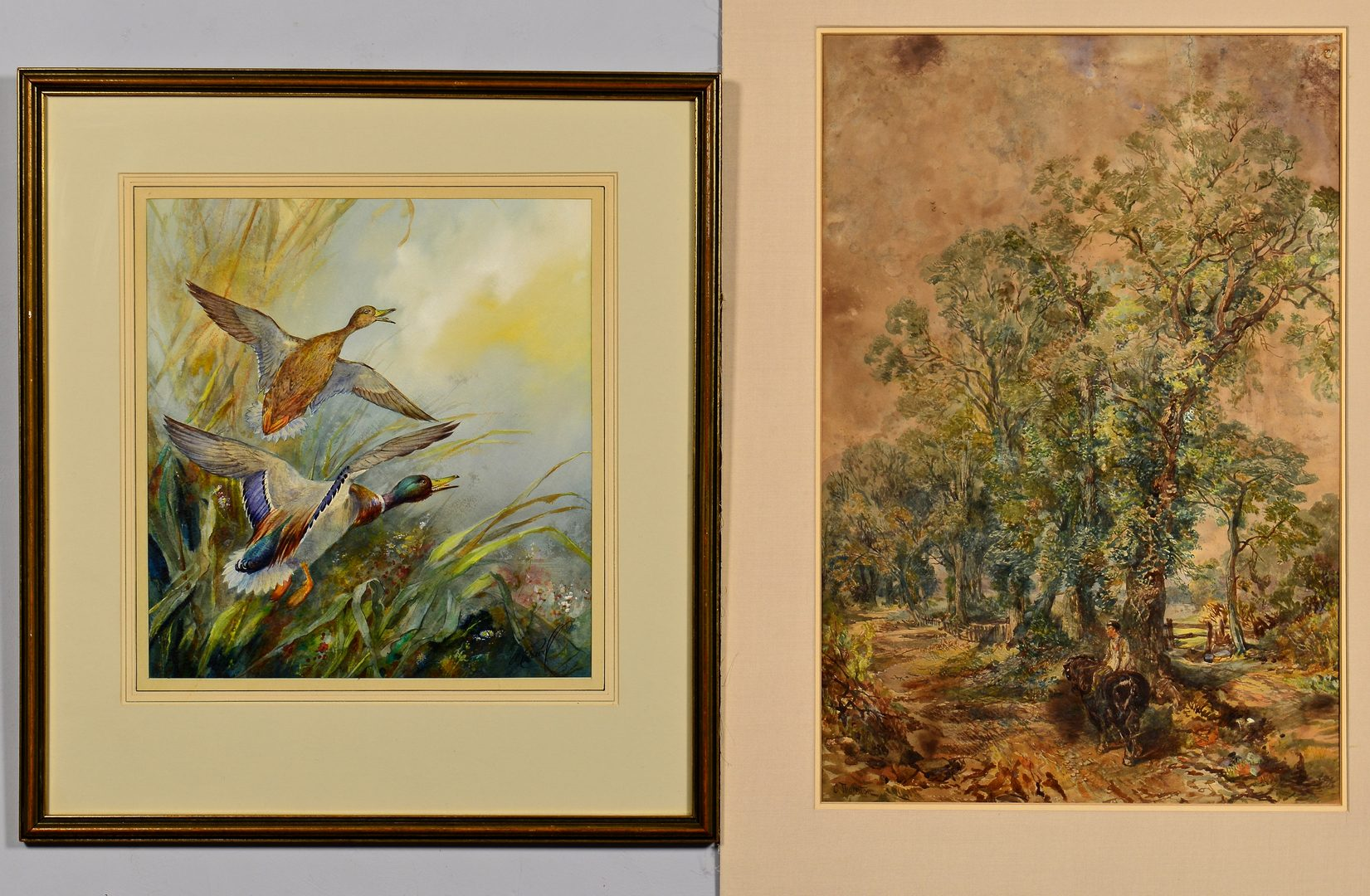 Lot 96: 2 Watercolors: Thornton and Pearl