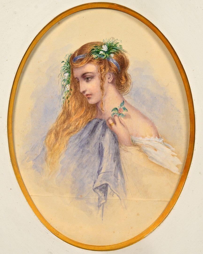 Lot 97: 4 Watercolor portraits inc. Hoppner Meyer