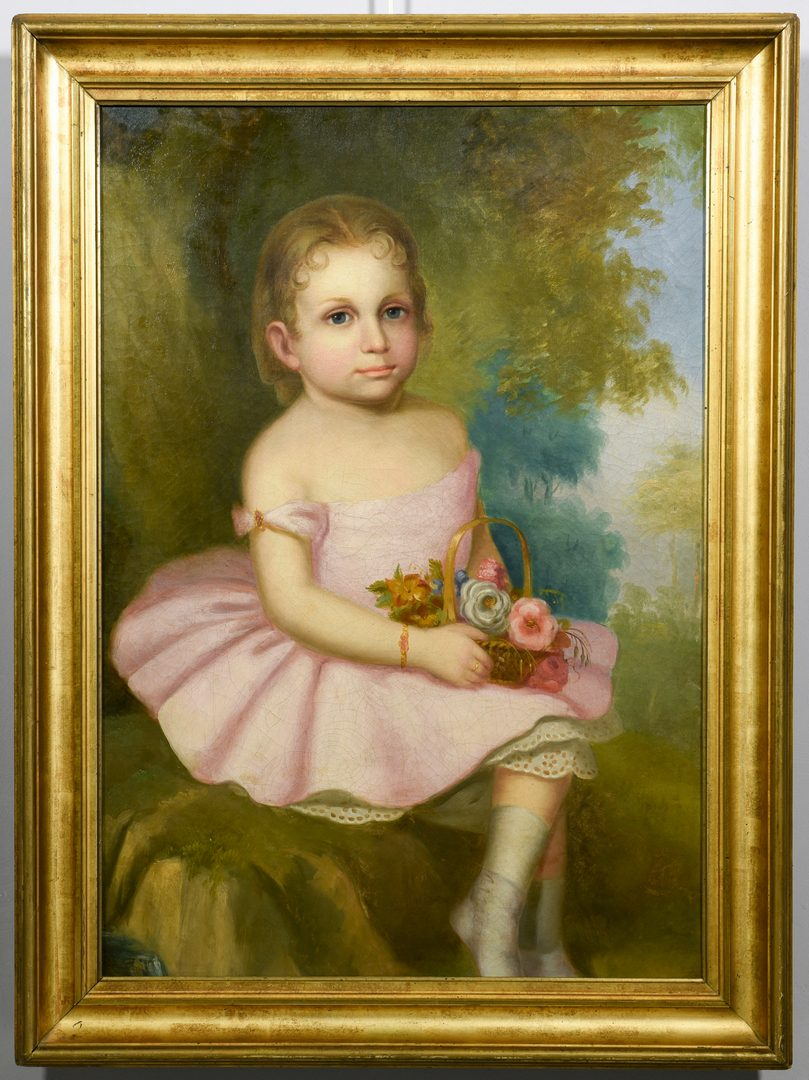Lot 98: 19th Cent. American School Portrait of Young Girl