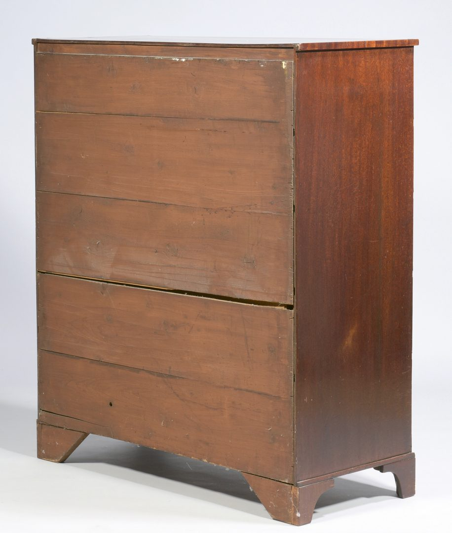 Lot 102: George III Inlaid English Tall Chest, Signed