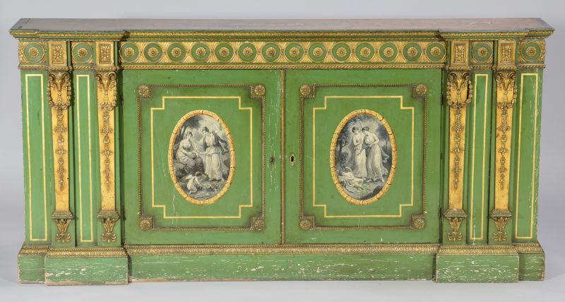 Lot 105: Painted and Parcel Gilt Credenza, 19th c.