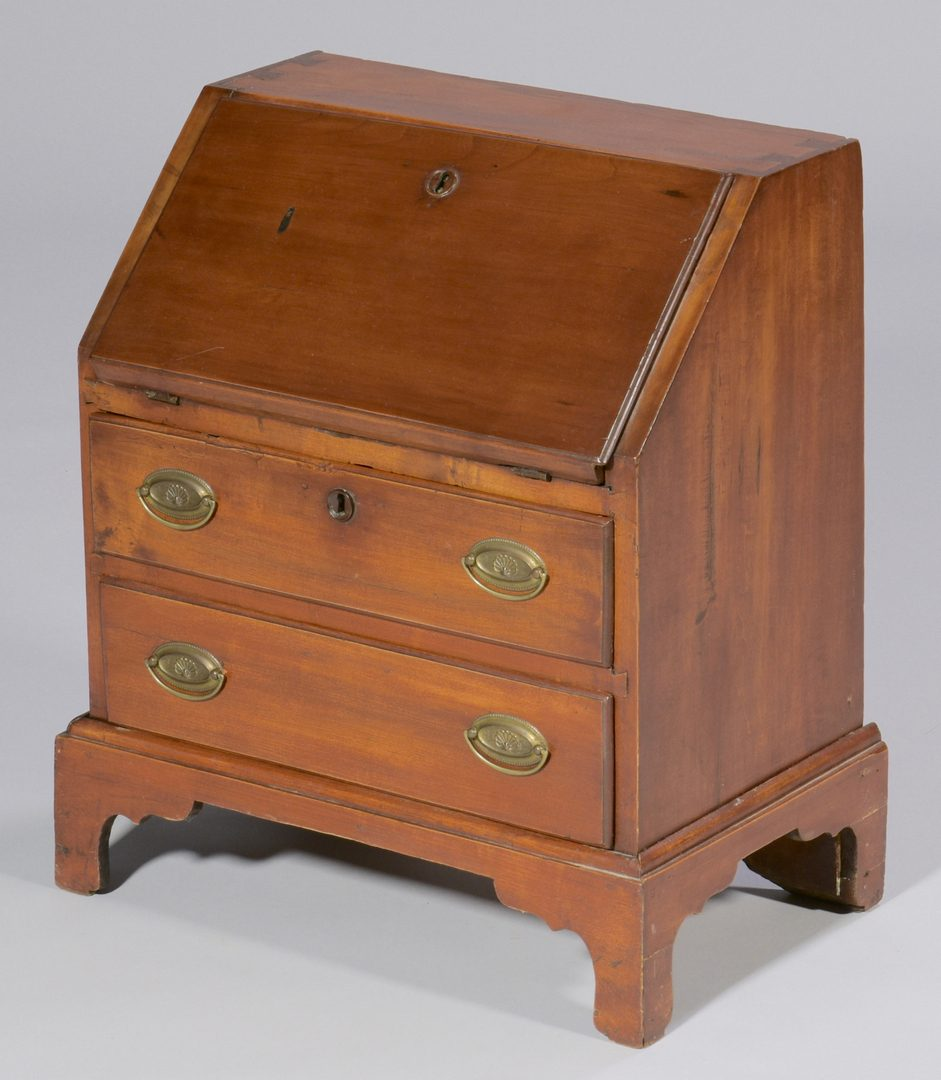Lot 110: 19th c. Miniature Cherry Desk