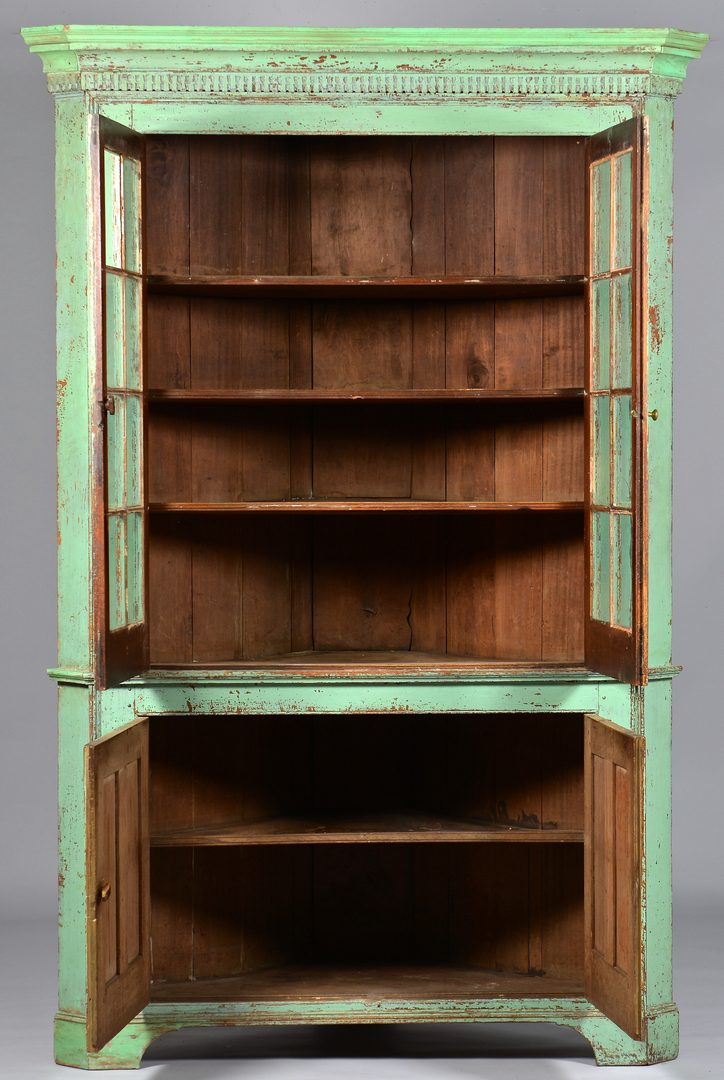 Lot 111: Early Ohio Green Painted Corner Cupboard