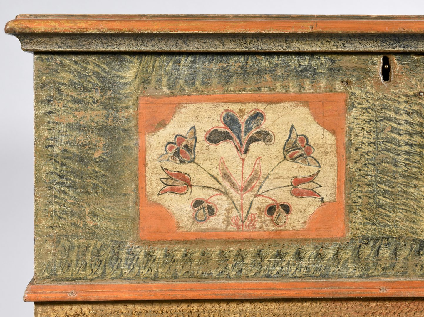 "Lot 112: PA Painted Child's Chest attr. ""Scraggly Artist"""