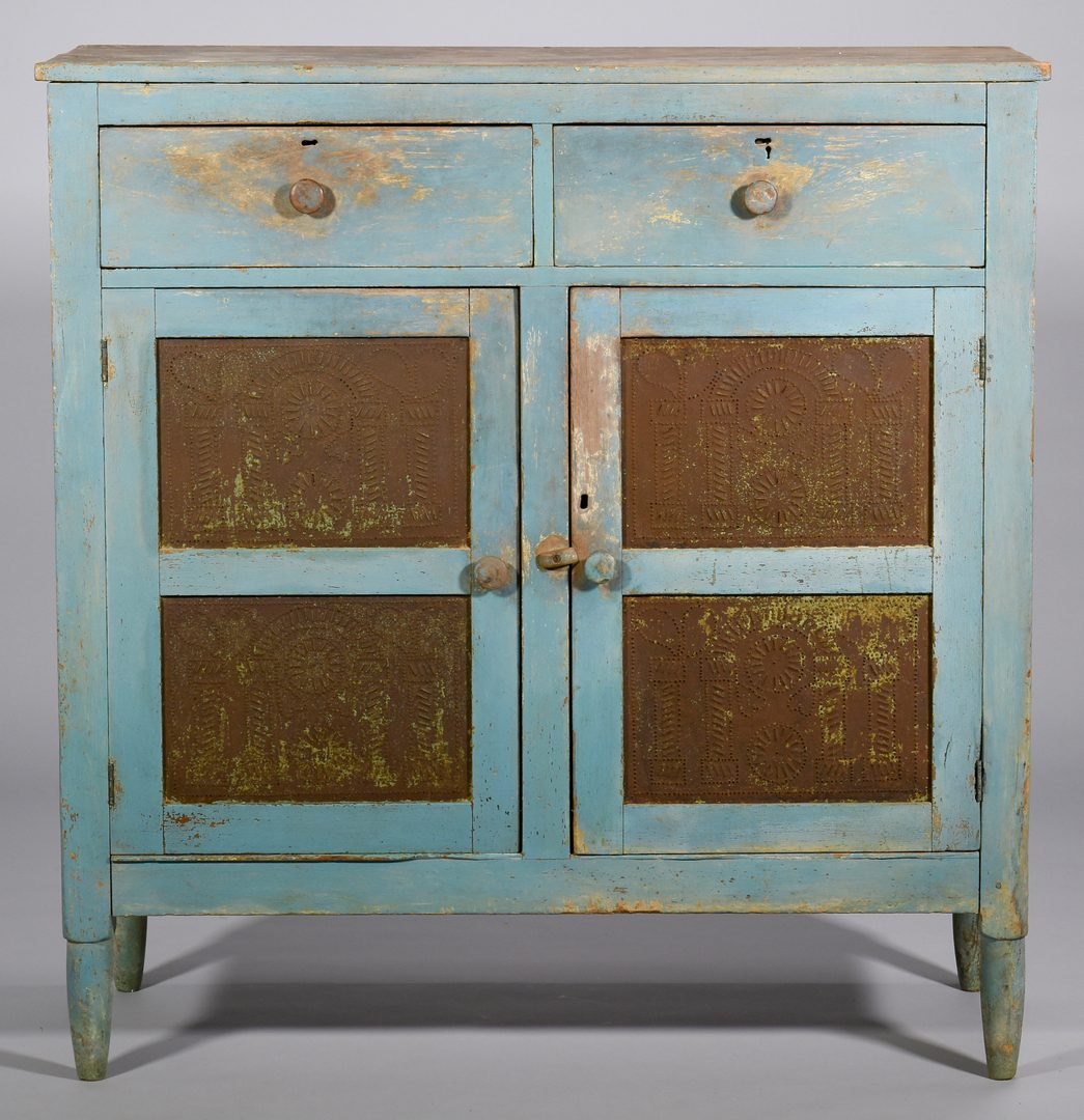 Lot 119: East TN Blue Painted Pie Safe