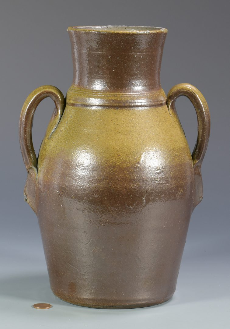 Lot 127: Middle TN Stoneware Jar, double strap handles