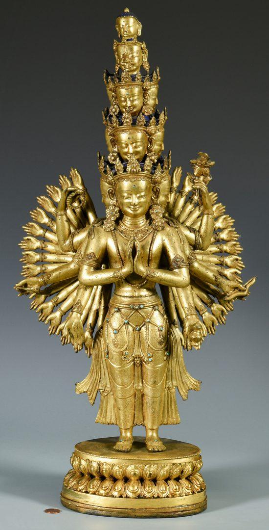 Lot 12: Gilt Bronze Jeweled Avalokitesvara Sculpture