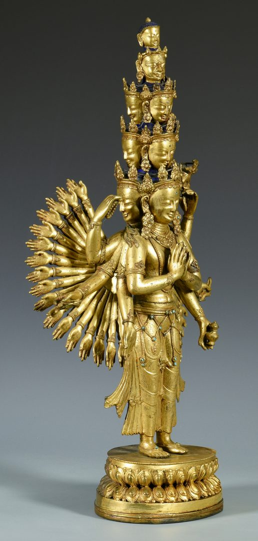 Lot 12: Gilt Bronze Jeweled Avalokitesvara Sculpture