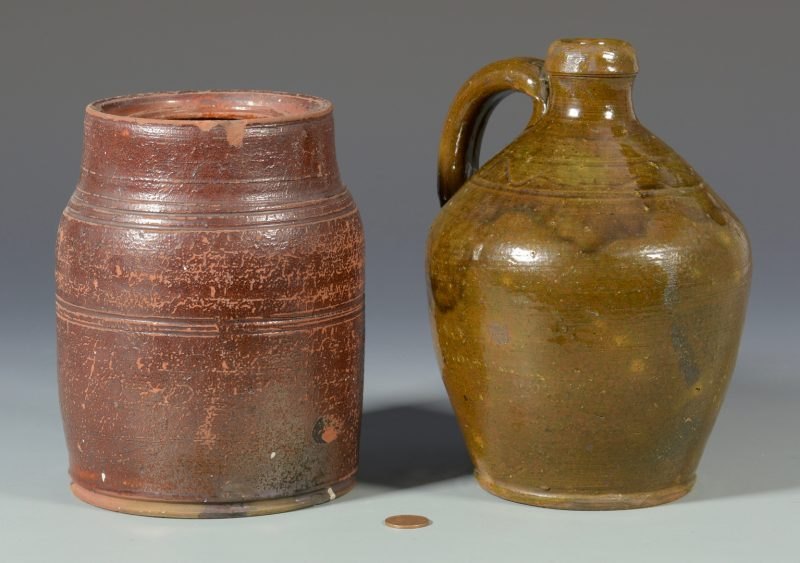 Lot 134: East TN Earthenware Pottery Jug & Jar, Attrib. Cain