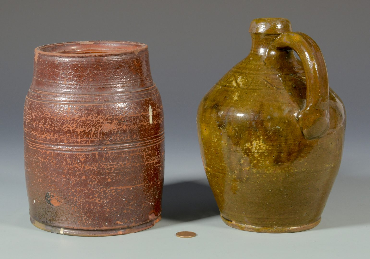 Lot 134: East TN Earthenware Pottery Jug & Jar, Attrib. Cain