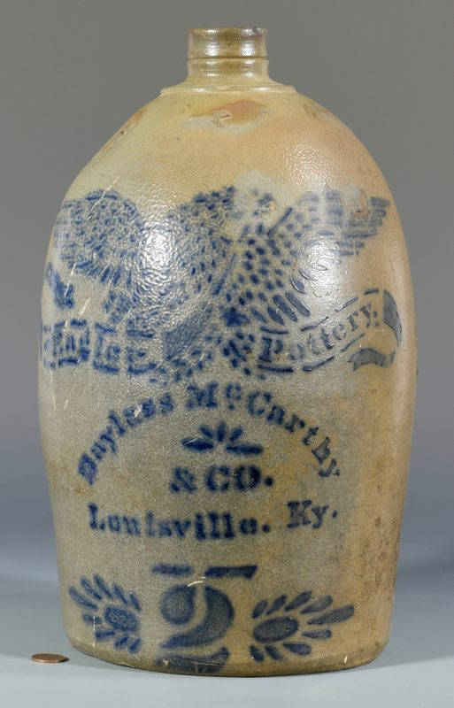 Lot 136: Bayless McCarthy & Co. Cobalt Decorated Stoneware