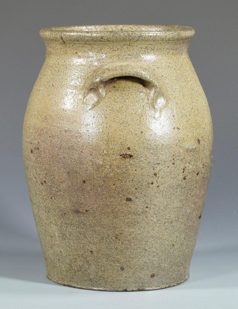 Lot 138: 19th C. NC  Stoneware Jar, signed G. Wolf
