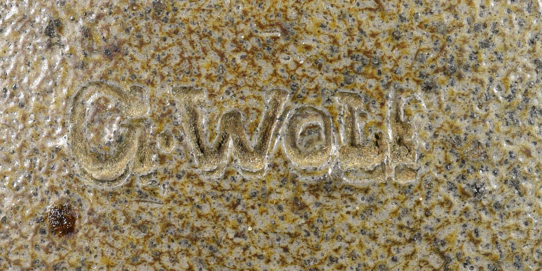 Lot 138: 19th C. NC  Stoneware Jar, signed G. Wolf
