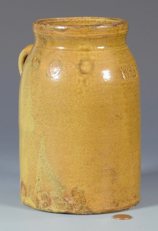 Lot 141: Alabama Pottery Jar, Marks for Martin H. Eckerbusch