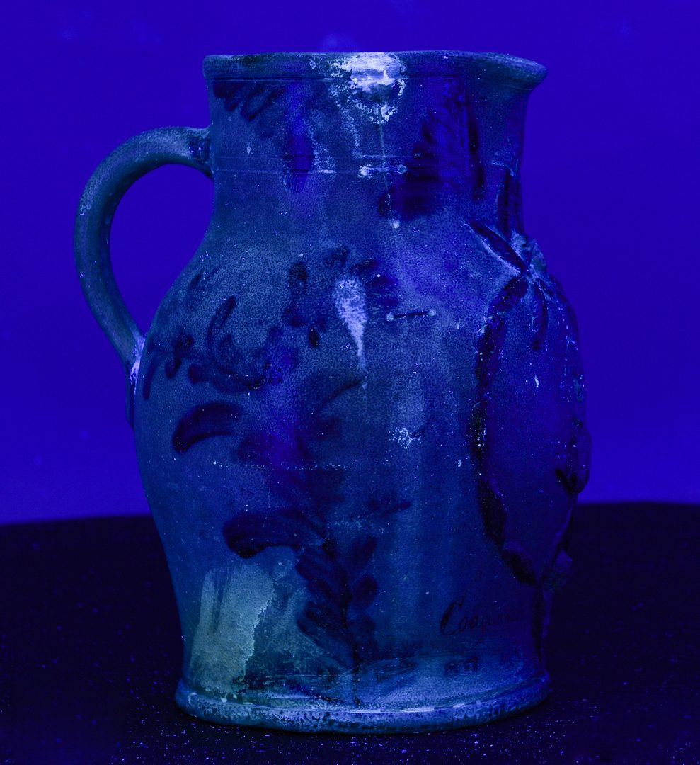 Lot 144: Washington Stoneware Presentation Pitcher, Coaquanock Lodge