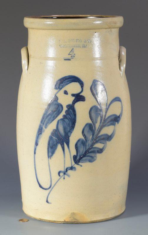Lot 146: F. B. Norton Stoneware Churn, Bird Design