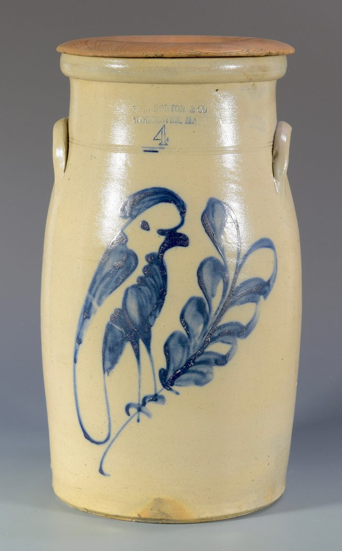 Lot 146: F. B. Norton Stoneware Churn, Bird Design