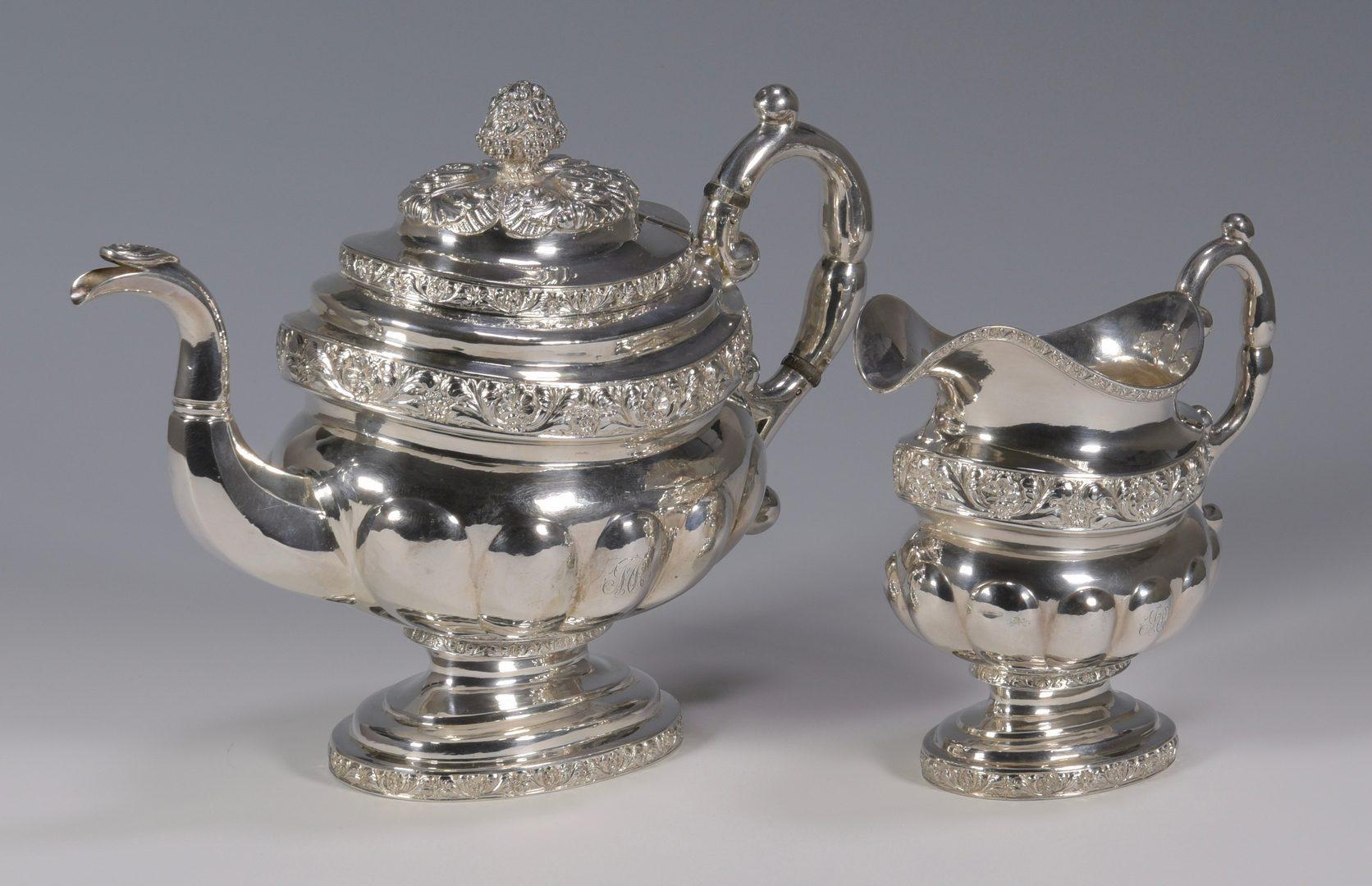 Lot 148: New York Coin silver tea service