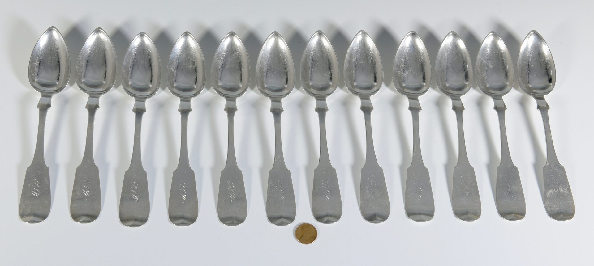 Lot 155: 12 Columbia, TN Coin Silver Spoons